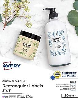 """ملصقات Avery مستطيلة مع طابعات ليزر وطابعات نافثة للحبر، 2"""" x 3""""، 80 ملصق شفاف كريستالي لامع (22822)"""