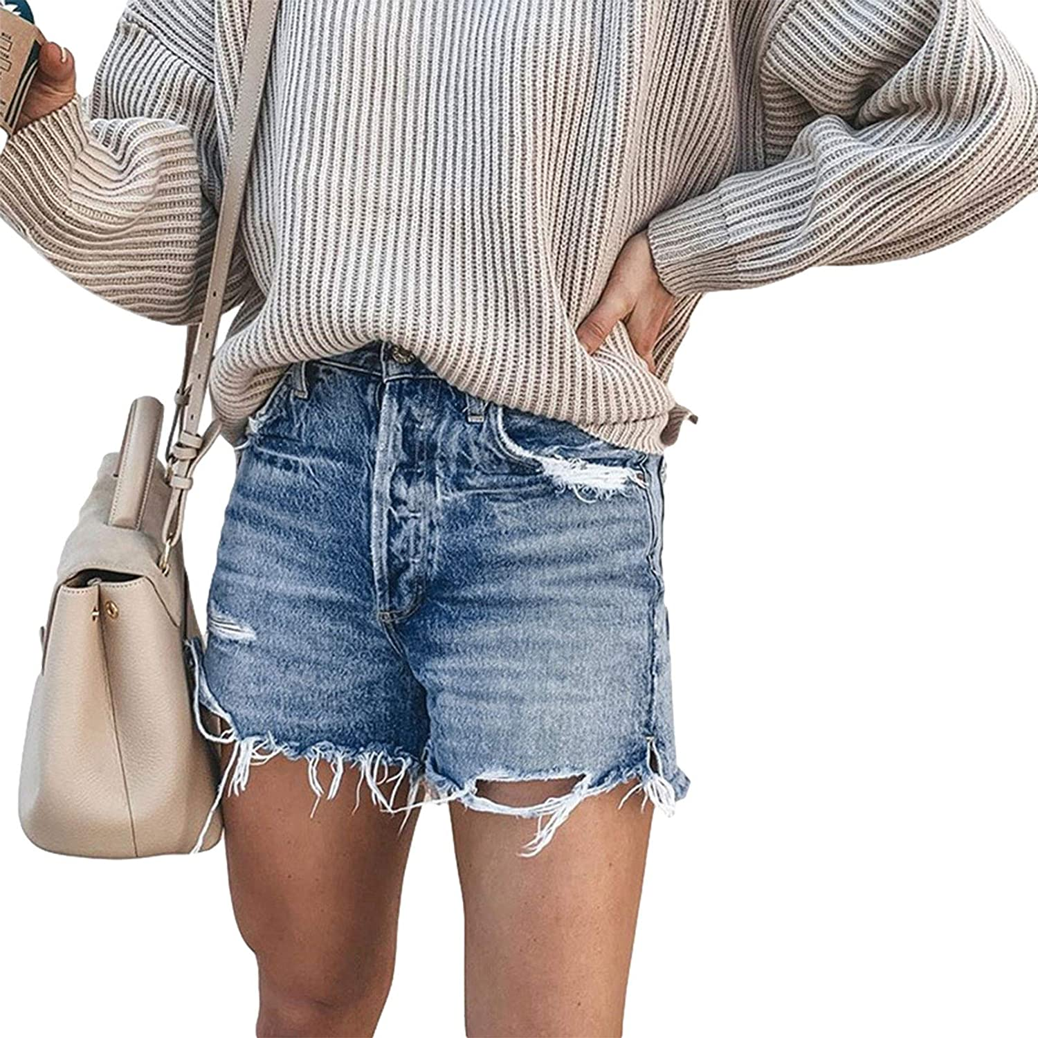 Aiwpstoin Summer Women Fashion Denim Shorts Plus Size Jean Shorts with Pockets Ripped Petite Stretchy Short