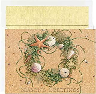 Masterpiece Warmest Wishes 18-Count Christmas Cards, Beach Wreath