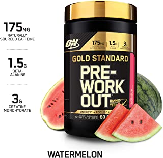 OPTIMUM NUTRITION Gold Standard Pre-Workout with Creatine, Beta-Alanine, and Caffeine for Energy, Keto Friendly, Watermelon, 60 Servings