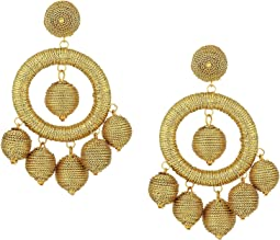 Graduated Gold Thread Wrapped Balls Drops w/ Dome Top Post Earrings