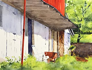 ARThouse Morning at Gittings, Giclee Print Landscape with Red Barn, 10 X 13 Inch Image