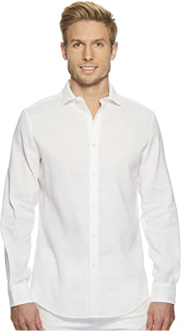 Slim Fit Long  Sleeve Solid Linen Shirt