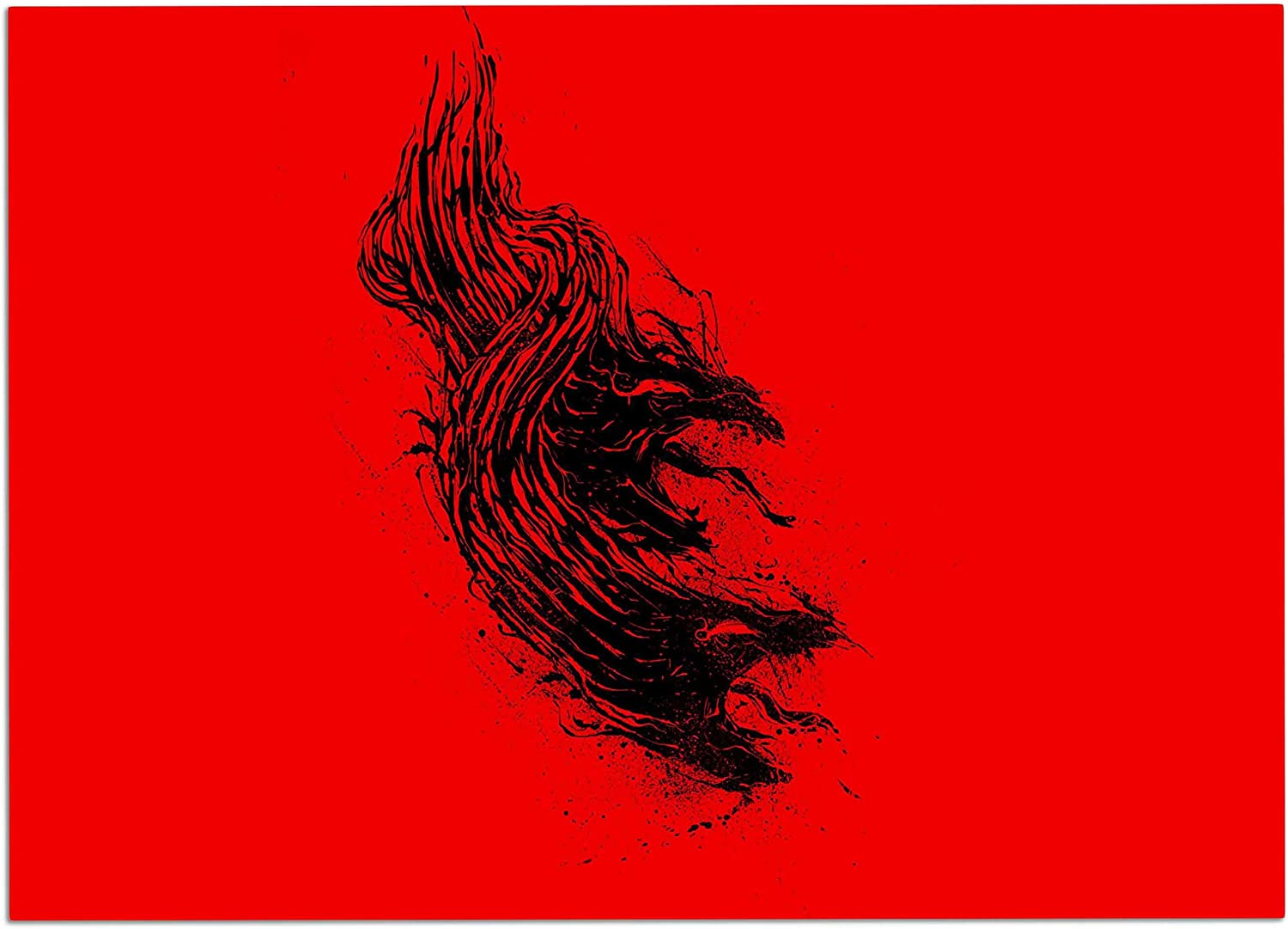 KESS InHouse RT1079ADM02 BarmalisiRTB Came from Hell Red Digital Dog Place Mat, 24  x 15