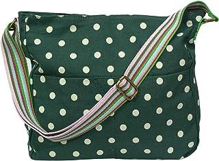 Miss Lulu L1104D2, Damen Umhängetasche Punktmuster grün