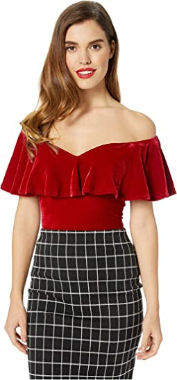 1950s Velvet Off the Shoulder Ruffle Frenchie Knit Top