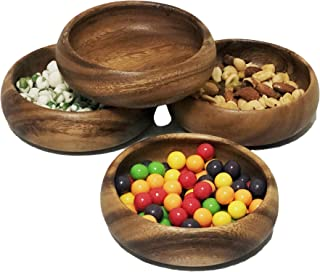"""Woodard & Charles Acacia Wood 5"""" Multipurpose Round Bowls Perfect for Serving, Candy, Nuts, Condiments, Appetizers, Seeds ..."""