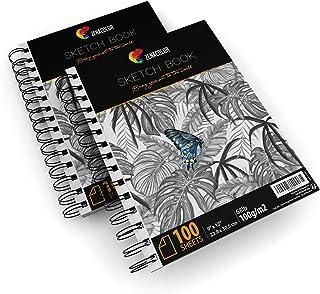 """Pack de 2 x Carnet de Dessin Professionnel, A4 (9""""x12"""") avec Spirales - 200 x Feuilles Blanches (100 g) - Cahiers Dessins ..."""