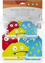 Full Circle Kids ZipTuck Reusable Sandwich Snack bag, Lunch Set, Monster