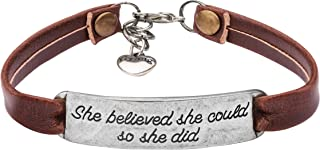 Yiyang Motivational Jewelry Gift Leather Bracelet for Women Inspirational Jewellery Vintage Brown Color