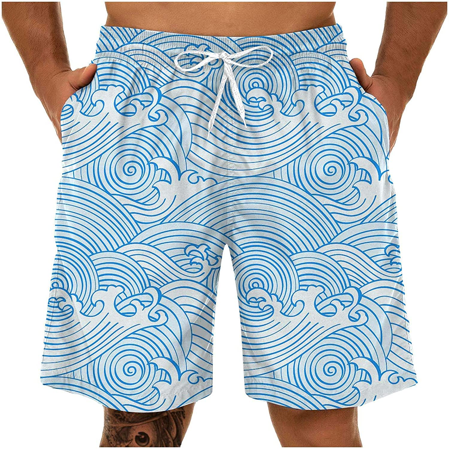 Burband Mens Shorts Casual Summer Beach Shorts 3D Print Swim Trunks Athletic Gym Lounge Pants with Elastic Waist and Pockets