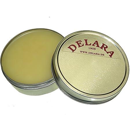 DELARA Baume d'entretien pour Cuir de Haute qualité avec jojoba et Cire d'abeille - protège efficacement Le Cuir Lisse du dessèchement et de l'oxydation, boîte de 75 ML - incolore
