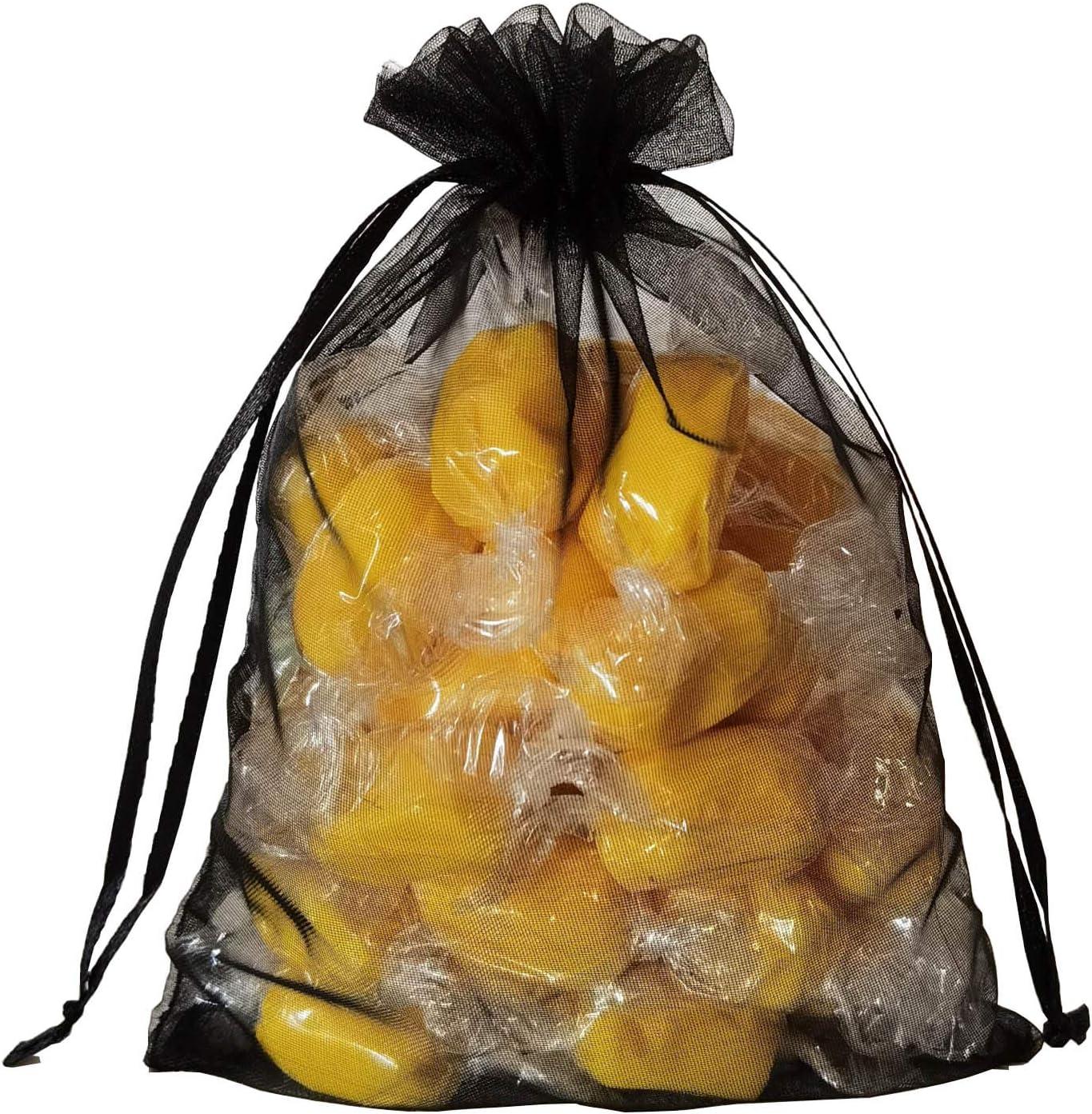 100pcs Sheer Ranking TOP20 Black Organza Small Drawstring Bags 5x7 I [Alternative dealer] Wrap Gift
