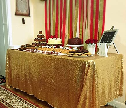 BalsaCircle 60x102-Inch Gold Rectangle Tablecloth for Wedding Party Cake Dessert Events Table Linens