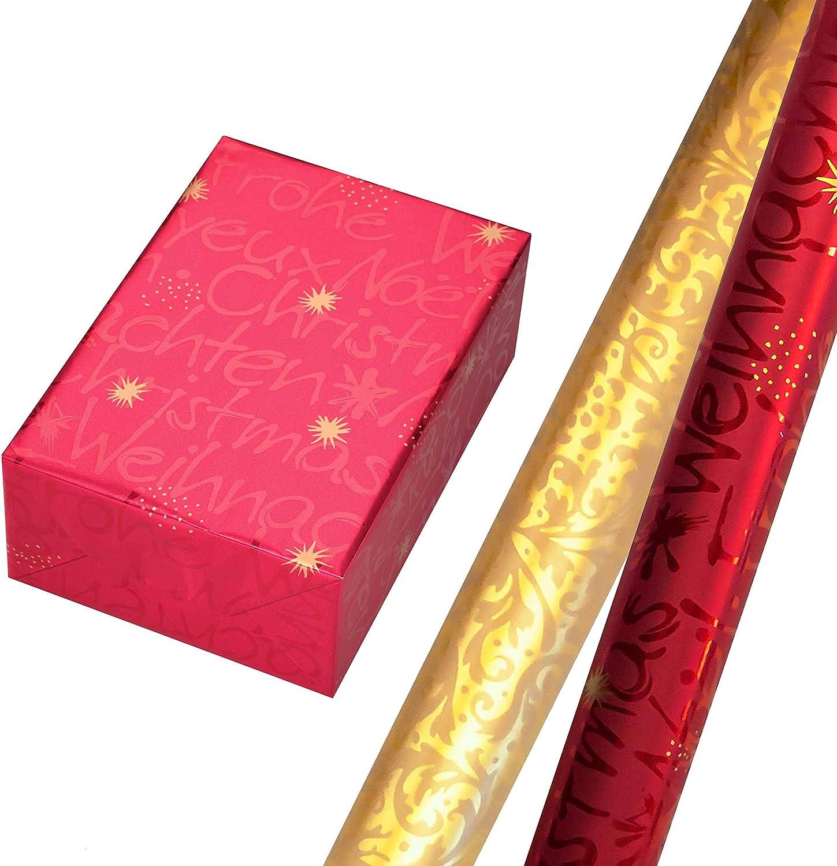 F/ür Weihnachten Geschenkpapier Weihnachten Set 6 Rollen 75 x 150 cm Geburtstag. schwarzes und wei/ßes Sterne-Design auf Metallic-Papier Sternen-Kontur-Design mit Glitter gold auf schwarzem Fond