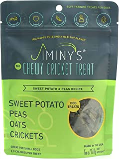 Jiminy`s Cricket Protein Sweet Potato and Pea Soft & Chewy Dog Training Treats   100% Made in The USA   Gluten-Free   Sust...