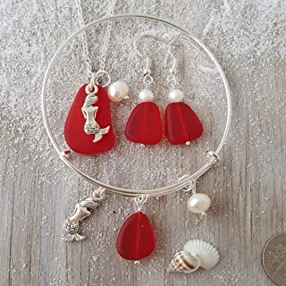 """product image for Handmade in Hawaii, Red sea glass necklace + earrings + bracelet Set,""""January Birthstone"""", Mermaid, Freshwater pearl, (Hawaii Gift Wrapped, Customizable Gift Message)"""