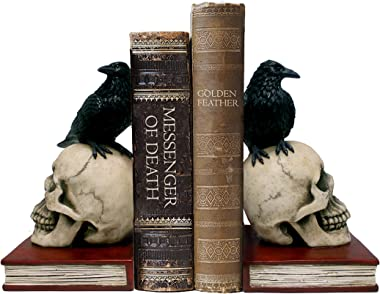 DWK - Murder & Mystery - Ravens on Skulls Bookends Gothic Poe Crow Reading Bookshelf Library Home Décor Book Shelf Accent, 8.