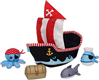 Manhattan Toy 160400 Neoprene Pirate Ship 5 Piece Floating Spill n Fill Bath Quick Dry Sponges and Squirt Toy, Multicolour