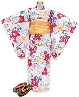 浴衣 こども 女の子 セット 古典柄の女の子浴衣 兵児帯 下駄 3点セット 120「生成り 赤系菊と雪輪」OCN12-7A-Yset