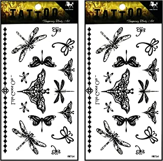 Tattoos 2 Sheets Butterfly Dragonfly Vine Chain Necklace Art Fantasy 3D Tattoo Waterproof Stickers Removable Temporary Body Arm Fake Art Sticker Party