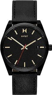 ساعة كافيار من الجلد باللون الاسود وبمينا سوداء للرجال من ام في ام تي - 28000053-D
