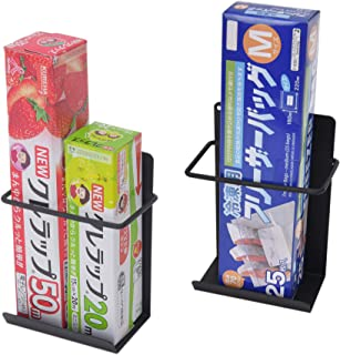 StorageWorks キッチンツールラック 2個セット マグネット ラップホルダー ラップ 収納 ラック ラップスタンド 棚 取り付け簡単 キッチン 冷蔵庫 電子レンジ 浴室 小物置き ブラック S