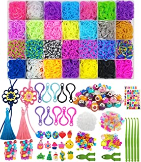11270pc Rainbow Rubber Bands Refill Kit,10500 Loom Bands,600 S Clips,67 Beads,24 Shining Beads, 35 Charms,2 Hand-woven Sunflower Ornaments,2 Tassels,2 Y Looms, 5 Hooks,Prefect Loom Bracelet Kit.