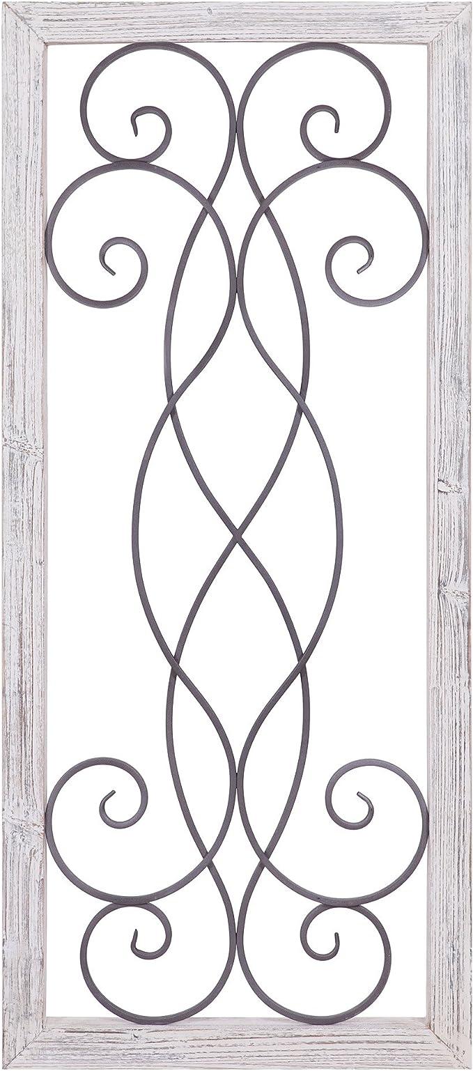 Patton decoración de pared rústica blanca lavada madera y metal decorativo  pergamino decoración de pared