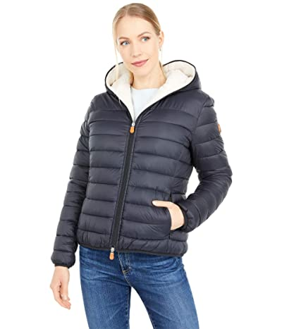 Save the Duck Giga Sherpa Lined Short Hooded Puffer Jacket (Black) Women