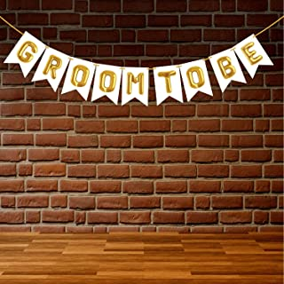 Wobbox Bachelor Bunting Banner White & Golden Balloon Text Groom to Be, Bachelor Party Decoration