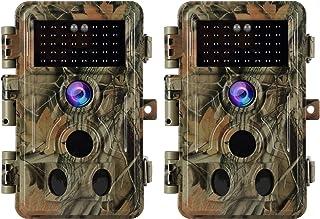 """BlazeVideo 2 Piezas Cámara de Caza con Audio 20MP 1080P Visión Nocturna 120° de Ancho Ángel 0.2S Velocidad IP66 a Prueba de Agua Activados por Movimiento y el 24"""" Pantalla Integrada"""