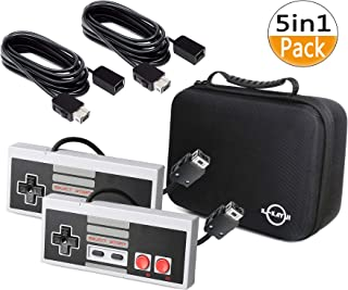 5 in 1 NES Carrying Case for Nintendo NES Classic-Includes 2X Control Pads,2x3M/10Ft Controllers Extension Cable and 1x Travel Bag for Classic NES Mini Controller 2016(Console Not Included)