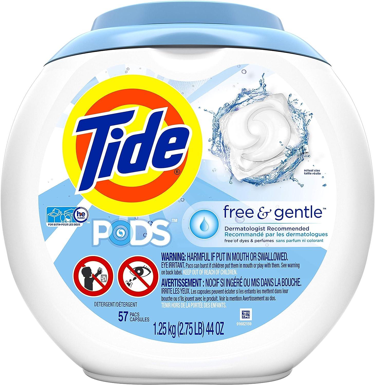 Tide PODS Free & Gentle, Liquid Laundry Detergent Pacs, 57 count