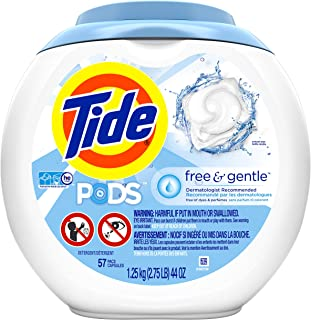 Tide PODS Free & Gentle HE Turbo Laundry Detergent Pacs, Unscented, 57 Count Tub