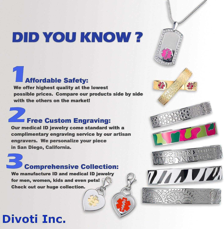Divoti Free Deep Custom Laser Engraved-Stainless Steel Medical Alert Necklace for Women, Premier Tag Medical ID Necklace, Medical Pendant Tag w/Free Engraving -24/28