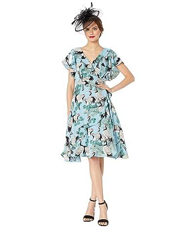 Unique Vintage 1940s Crane Print Luella Wrap Dress (Light Blue/White) Women