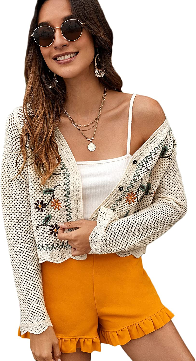 MakeMeChic Women's Floral Embroidery Button Up Long Sleeve Cardigan Crop Top