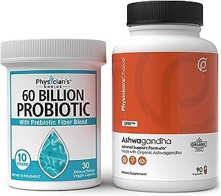 Probiotics 60 Billion CFU & Organic Ashwagandha 1950mg Root Powder Extract Bundle - 1 Month Supply