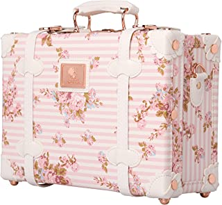 Floral Women Suitcase Small Vintage Luggage Carry on Bag with Straps 12 inch