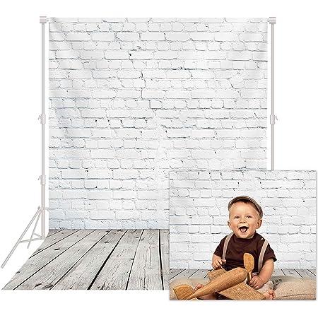HUAYI 5x7ft White Brick Wall Backdrop Baby Cake Smash Birthday Party Background Gray Wood Grainy Floor XT-6521