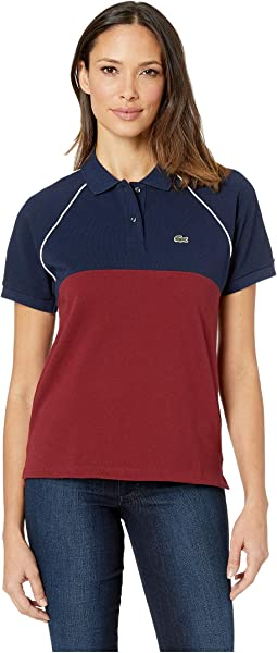 Short Sleeve Relaxed Fit Color Block Polo
