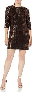 فستان حريمي من Sandra Darren مكون من قطعة واحدة 3/4 كم من قماش ترتر معدني