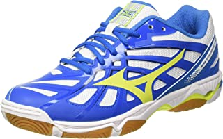 MIZUNO V1GA174044 Wave Hurricane 3 Men's Volleyball Shoes, White/Safety Yellow/Directoire Blue