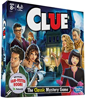 Hasbro Clue Board Game; Features Fan Voted Room; As Seen on Houzz Website; Classic Mystery Game for Kids 8 and Up