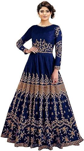Women s Embroidered Taffeta Silk Semi Stitched Anarkali Gown Blue Free Size