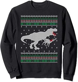 T-Rex Dinosaur Eating Reindeer Ugly Xmas Sweatshirt