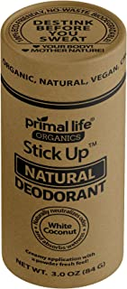 Primal Life Organics | Stick Up Natural Vegan Deodorant | Made with Magnesium and Hemp Seed Oil | No Gluten, Baking Soda or Aluminum | 3 Ounces | White Coconut