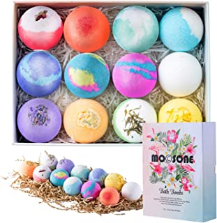 MOCSONE Bath Bombs, Bath Bombs Gift Set for Women Mom-12 Premium Bath Fizzy with Essential Oils, Sea Salt for Relaxing, Perfect Gift for Kids Birthday, Valentine's Day, Christmas