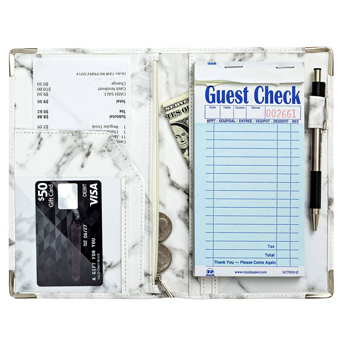 Server Plus Server Books for Waitress with Zipper Pocket, Pen Holder, Marble Leather, Metal Corners, 9 Pockets | Marble Server Book with Zipper Pocket Fits Restaurant Guest Check Order Pad and Apron